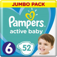 Подгузники Pampers Active Baby-Dry Размер 6 Extra large 13-18 кг 52 шт