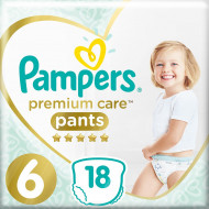 Трусики Pampers Premium Care 15+ кг Размер 6 Extra large 18 шт